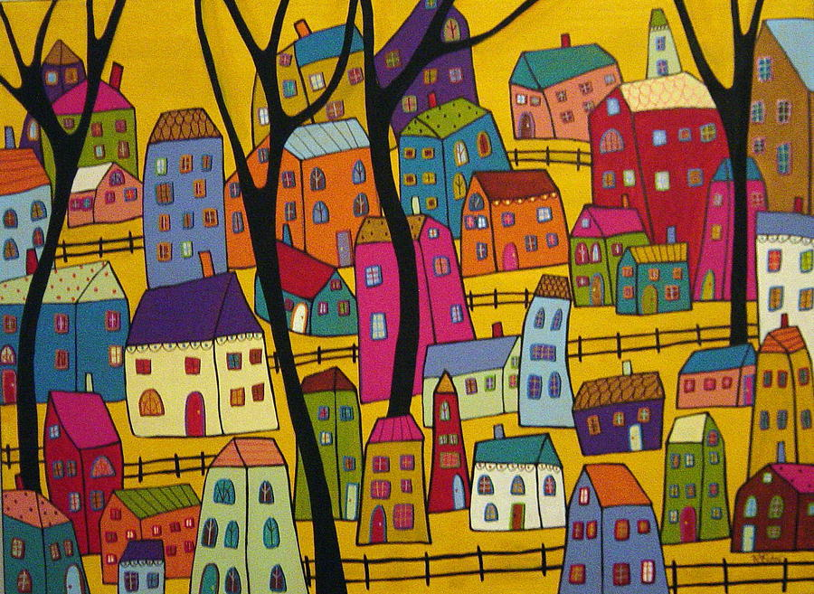 Abstract Village Houses And Trees  Painting  - Abstract Village Houses And Trees  Fine Art Print