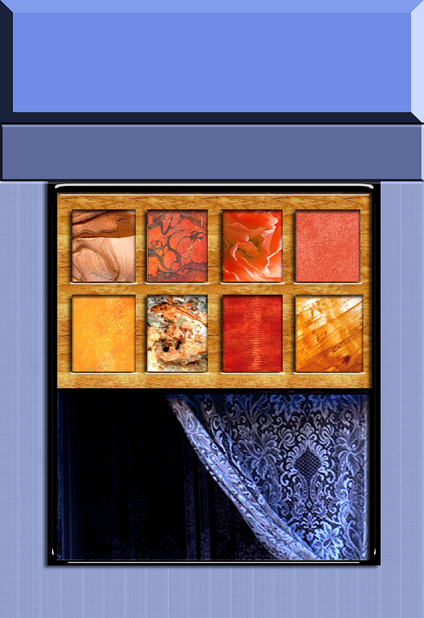 Abstract Window And Lace Curtain Painting By Elaine Plesser