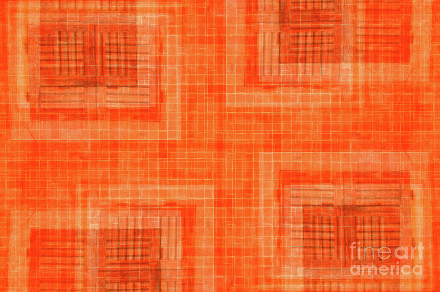 Abstract Window On Orange Wall Photograph