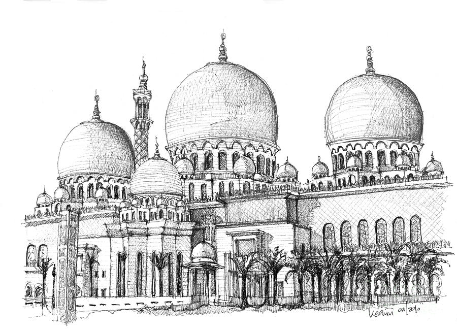 Abu Dhabi Masjid In Ink  Drawing  - Abu Dhabi Masjid In Ink  Fine Art Print
