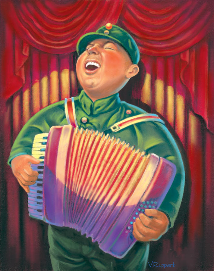 Accordian Player Pastel  - Accordian Player Fine Art Print