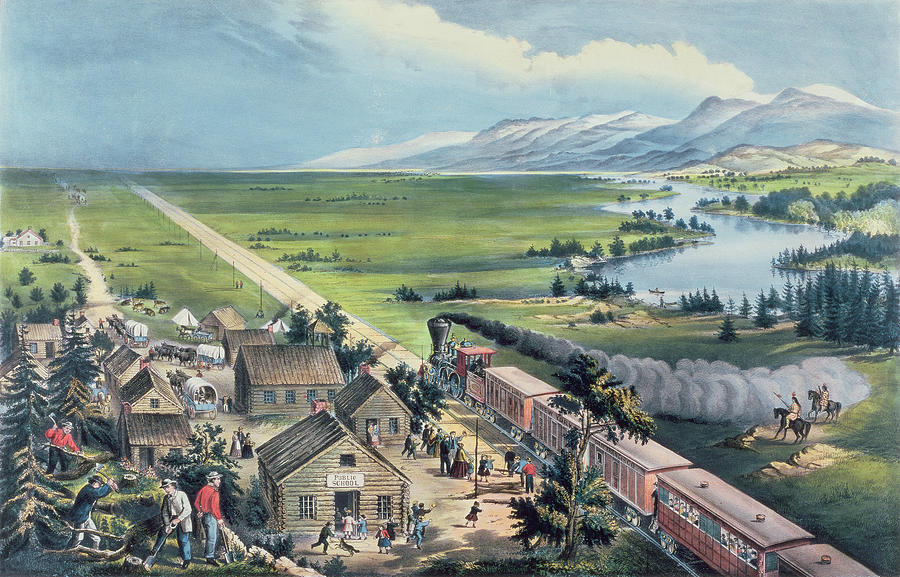 Across The Continent: 'westward The Course Of Empire Takes It's Way' Painting - Across The Continent by Currier and Ives