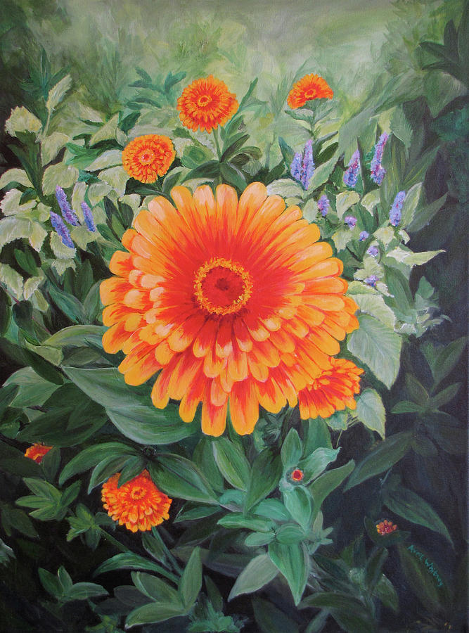 Acrylic flower painting zoozinnia by avril whitney for Painting large flowers in acrylic
