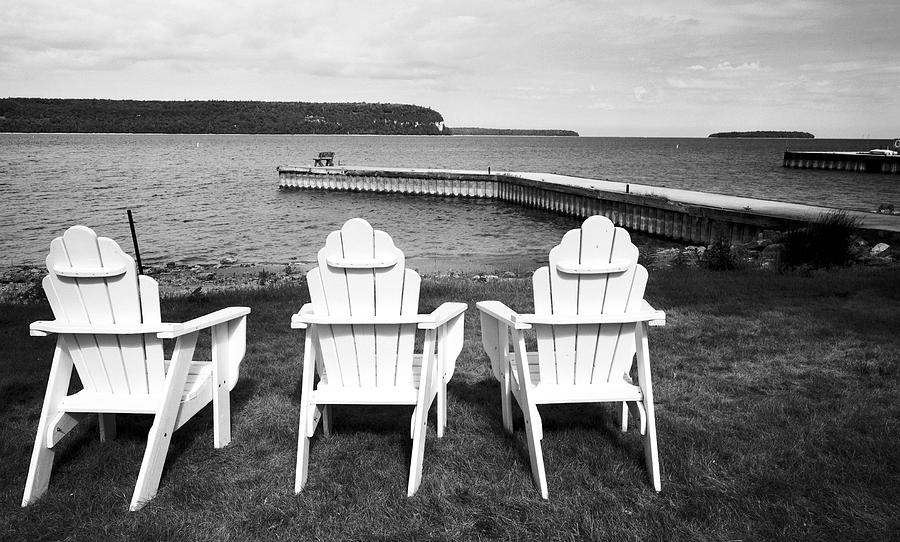 Adirondack Chairs And Water View At Ephriam Photograph