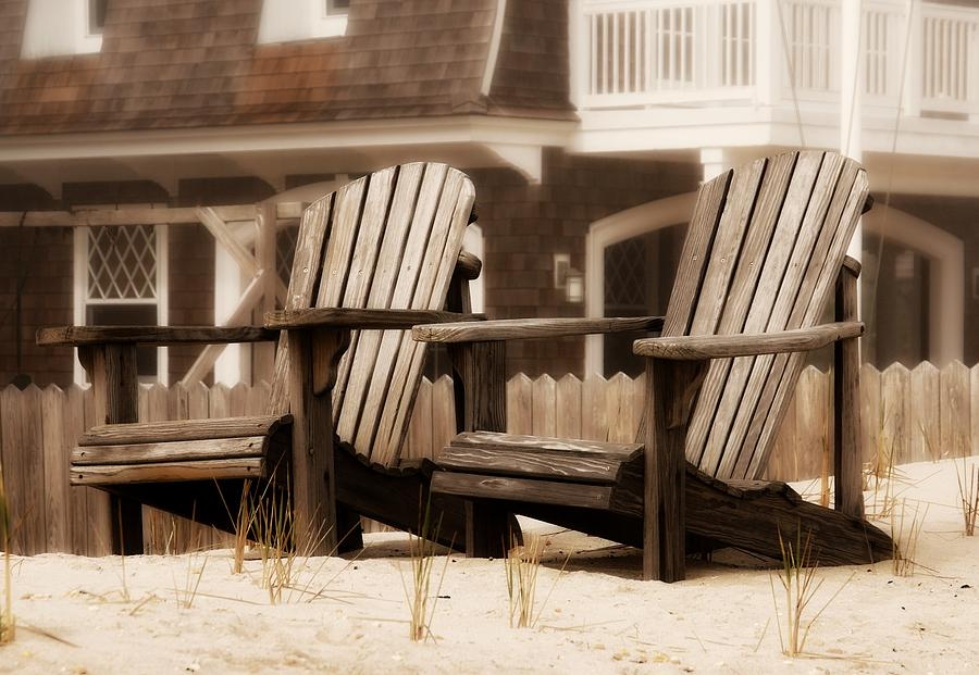 Adirondack Chairs On The Beach - Jersey Shore Photograph