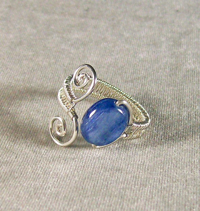 Adjustable Woven Kyanite And Silver Ring Jewelry