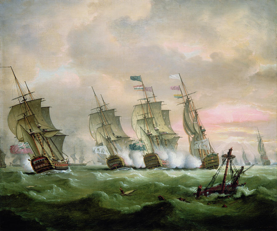Admiral Sir Edward Hawke Defeating Admiral De Conflans In The Bay Of Biscay Painting