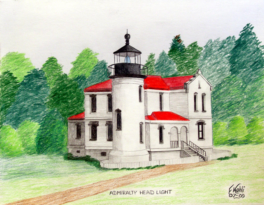 Admiralty Head Light Drawing  - Admiralty Head Light Fine Art Print