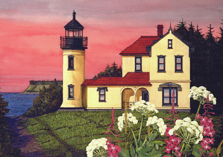 Admiralty Head Lighthouse  Painting  - Admiralty Head Lighthouse  Fine Art Print