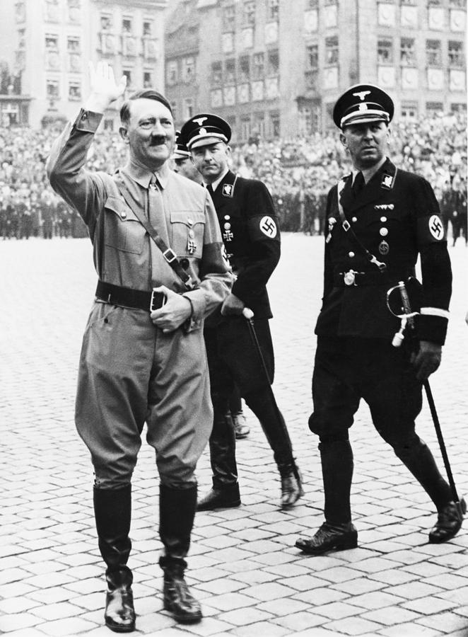 Adolf Hitler Saluting, With Two Ss Photograph  - Adolf Hitler Saluting, With Two Ss Fine Art Print