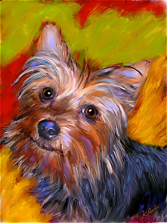 Adorable Yorkie Digital Art  - Adorable Yorkie Fine Art Print