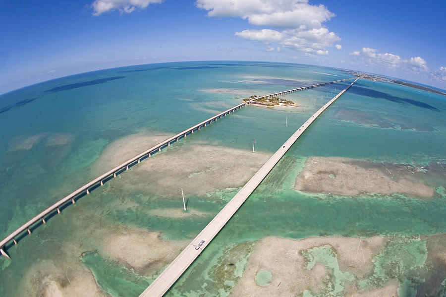 Aerial Of Seven Mile Bridge At Extreme Photograph  - Aerial Of Seven Mile Bridge At Extreme Fine Art Print