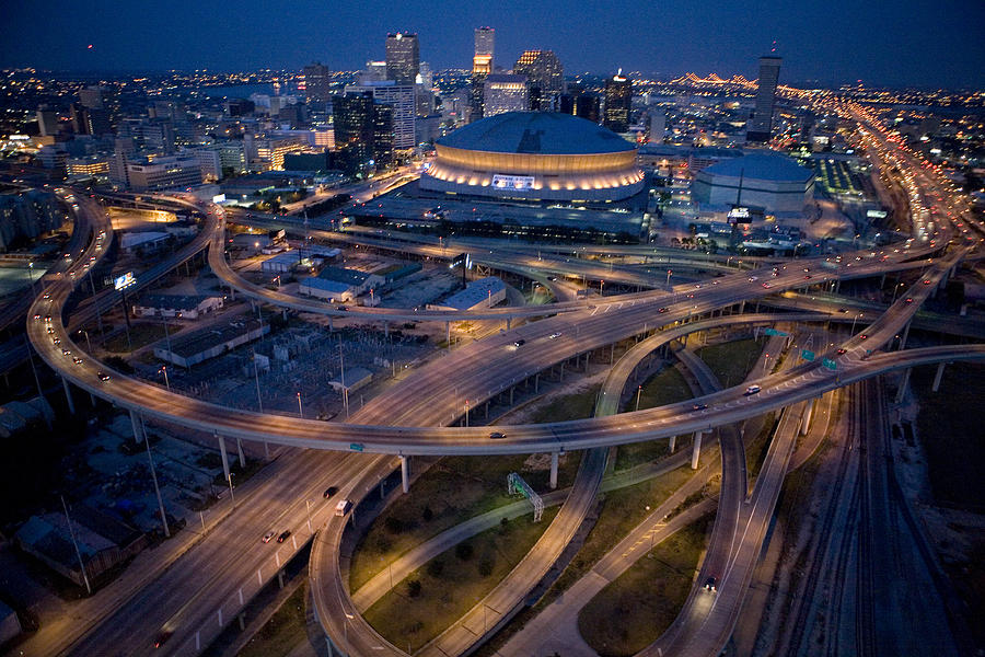 Aerial Of The Superdome In The Downtown Photograph