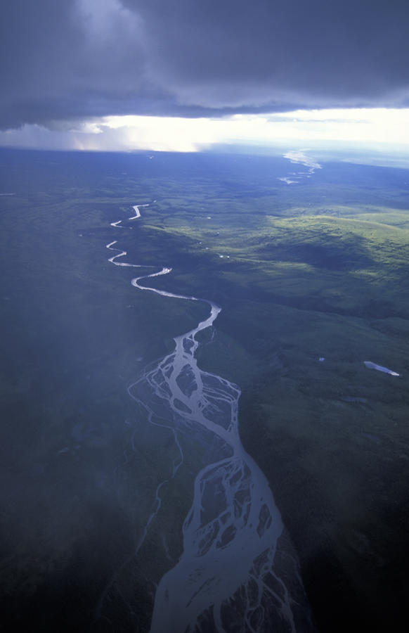 Aerial Of Tundra And Mckinley River Photograph  - Aerial Of Tundra And Mckinley River Fine Art Print