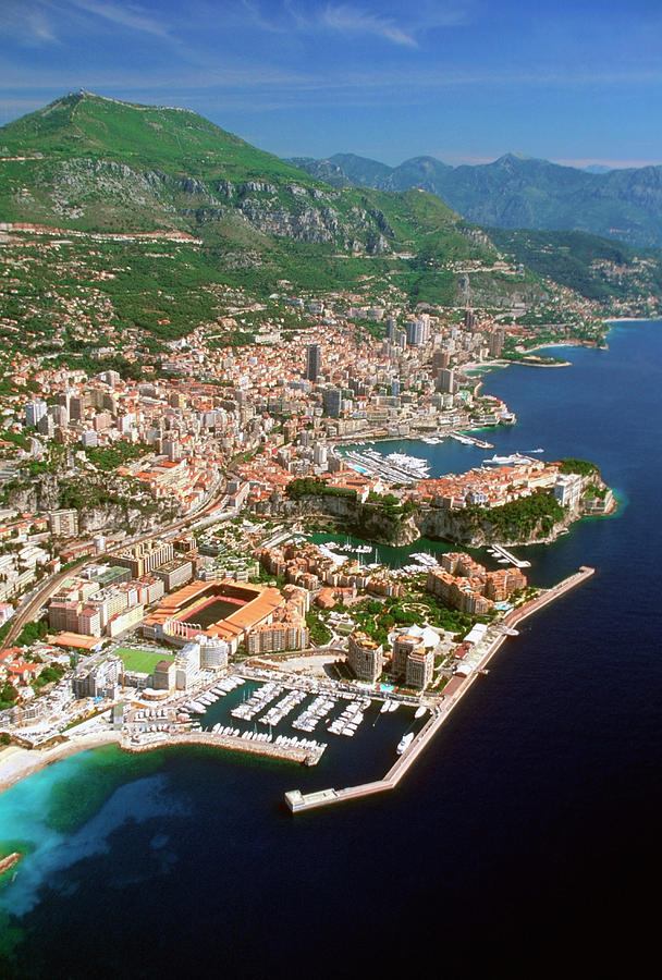 Aerial View Of A City, Monte Carlo, Monaco, France Photograph  - Aerial View Of A City, Monte Carlo, Monaco, France Fine Art Print
