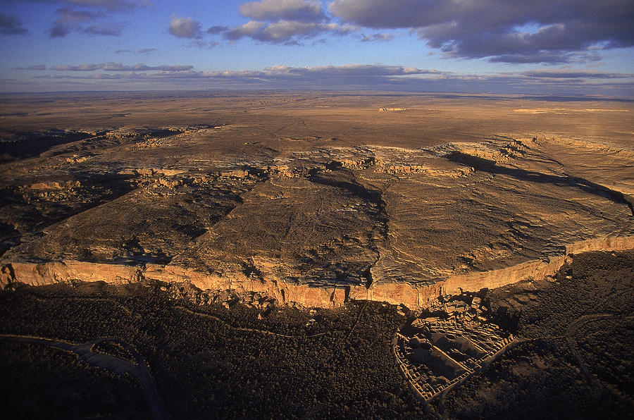 Aerial View Of Chaco Canyon And Ruins Photograph