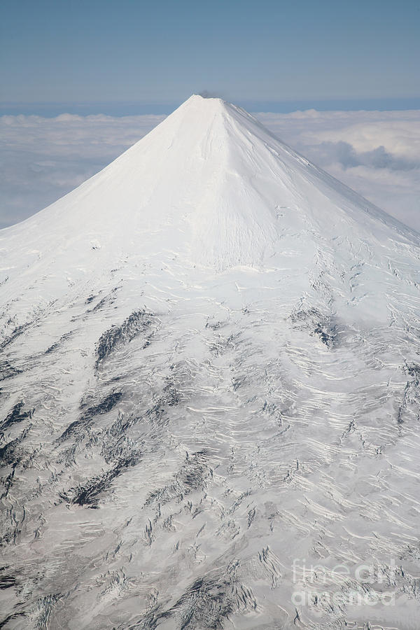 Nature Photograph - Aerial View Of Glaciated Shishaldin by Richard Roscoe