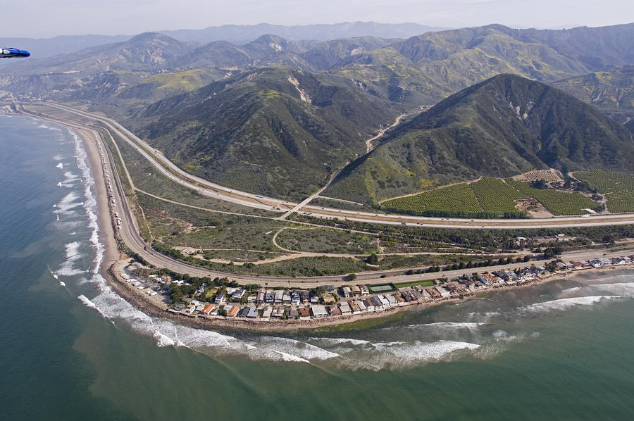 Aerial View Of Highway 1 As It Meets Photograph  - Aerial View Of Highway 1 As It Meets Fine Art Print