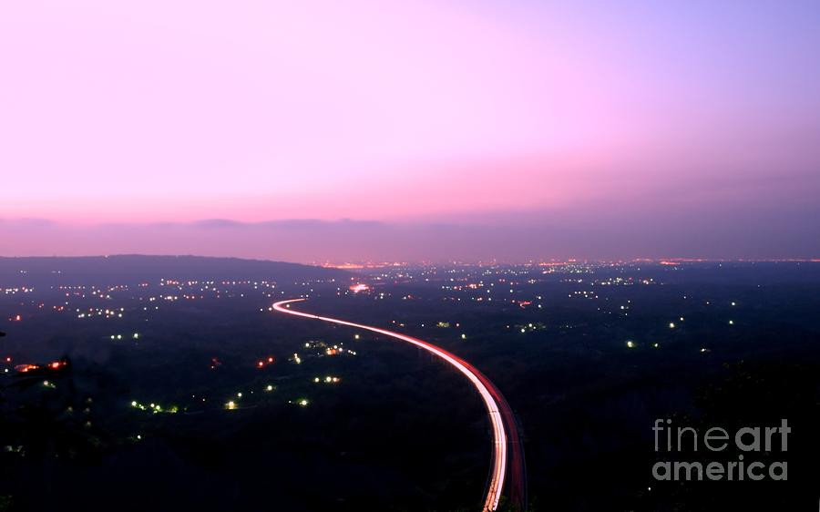 Aerial View Of Highway At Dusk Photograph