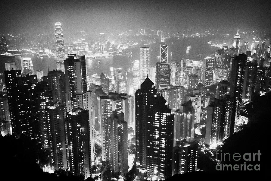Aerial View Of Hong Kong Island At Night From The Peak Hksar China Photograph  - Aerial View Of Hong Kong Island At Night From The Peak Hksar China Fine Art Print