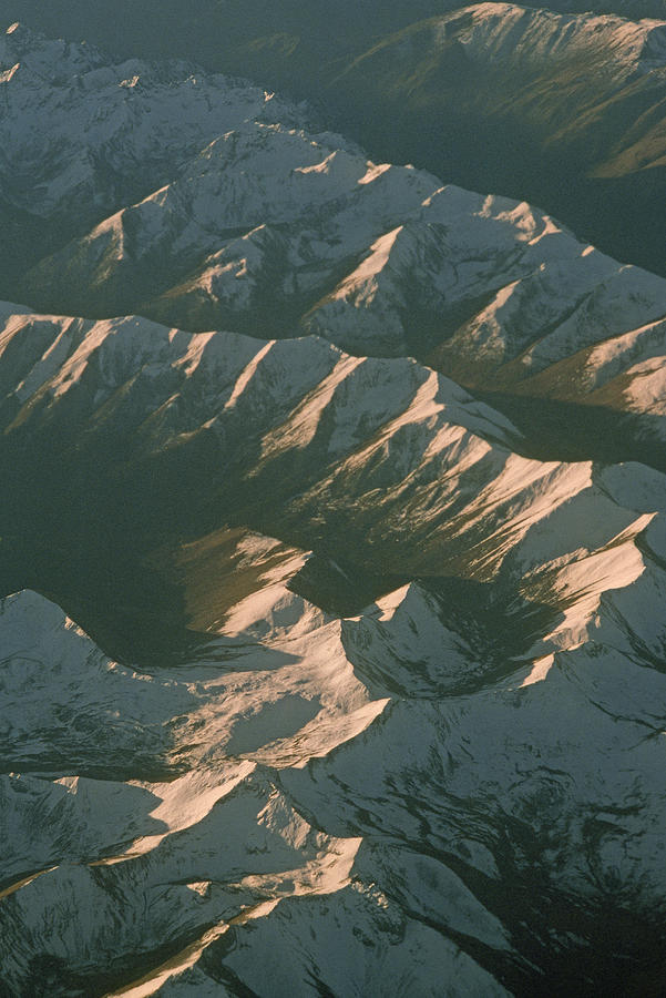 Aerial View Of Snowcapped Mountain Photograph