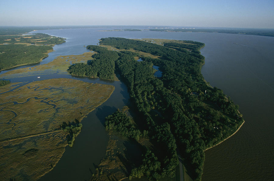 Aerial View Of The James River Photograph  - Aerial View Of The James River Fine Art Print
