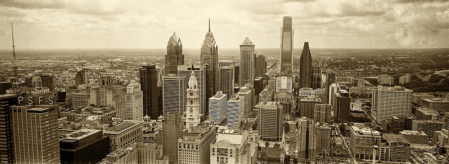 Aerial View Philadelphia Skyline Wth City Hall Photograph  - Aerial View Philadelphia Skyline Wth City Hall Fine Art Print