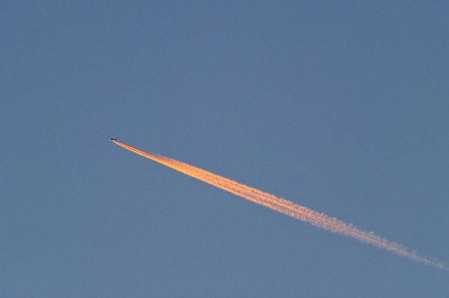 Vehicle Photograph - Aeroplane Contrail by David Nunuk