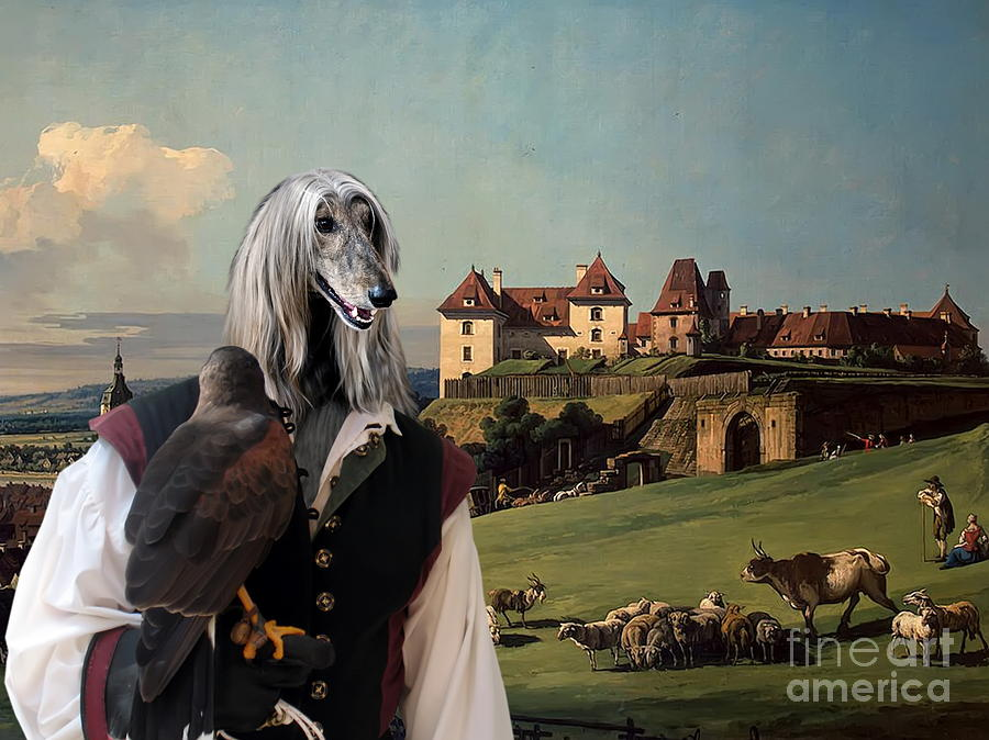 Afghan Hound-falconer And Castle Canvas Fine Art Print Painting  - Afghan Hound-falconer And Castle Canvas Fine Art Print Fine Art Print