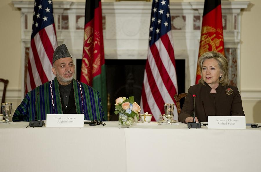 Afghan President Hamid Karzai And Sec Photograph