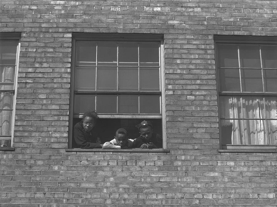 African American Children At Window Photograph