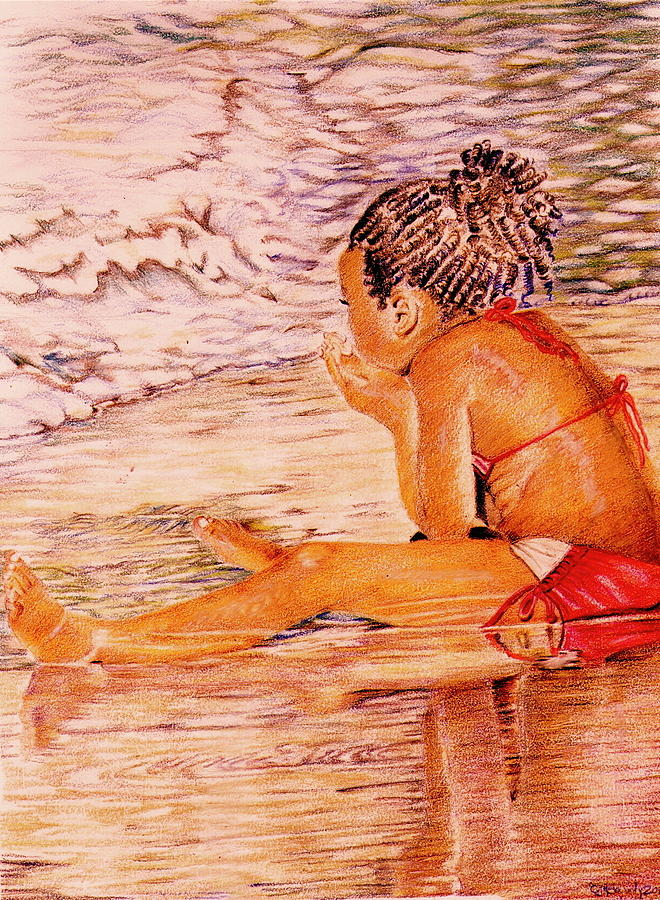 African American Girl On The Beach Drawing