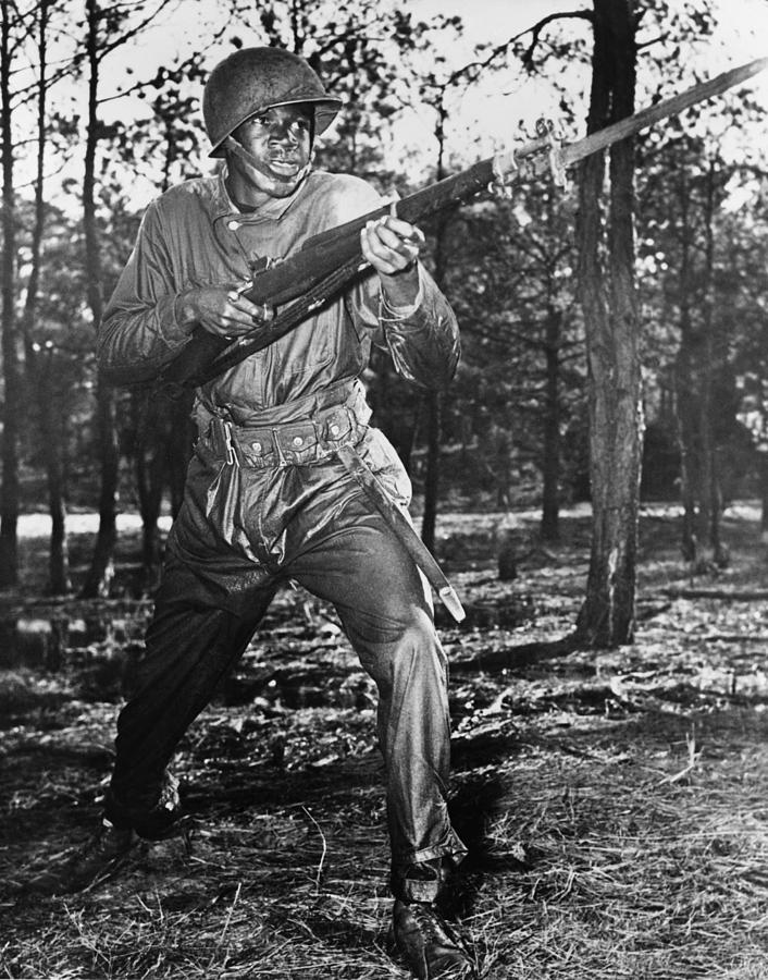 History Photograph - African-american Soldier Charging by Everett