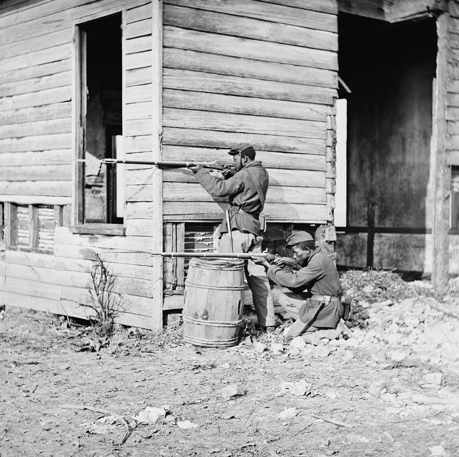 African American Soldiers Aim Photograph
