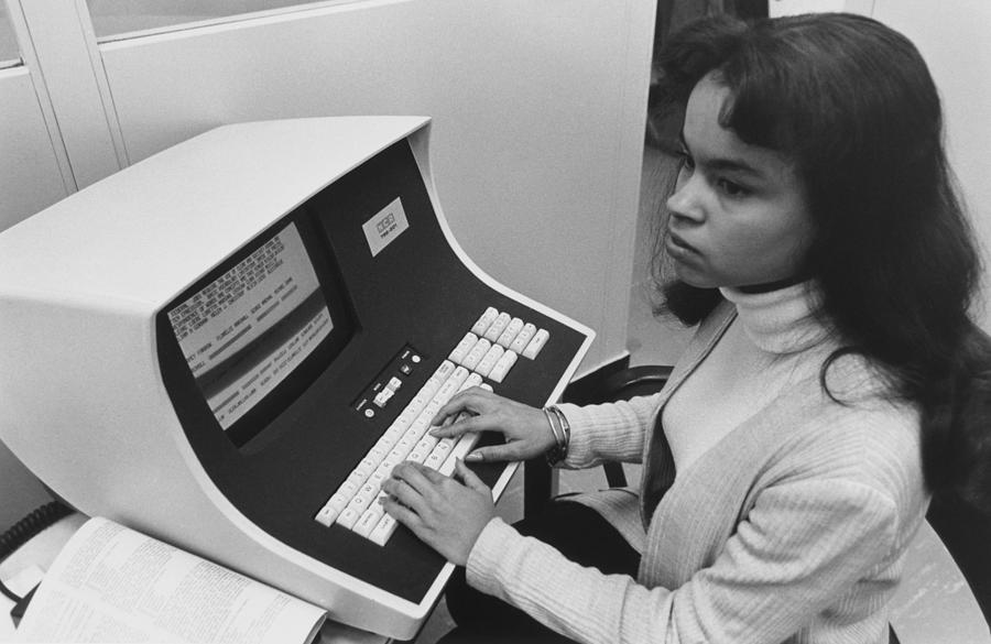 African-american Woman Computer Photograph