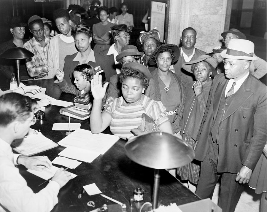 African Americans Lined Up To Register Photograph