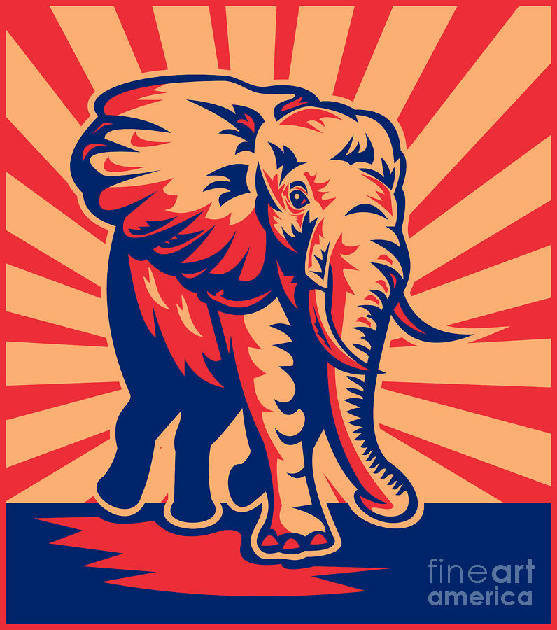 African Bull Elephant Charging Retro Digital Art  - African Bull Elephant Charging Retro Fine Art Print