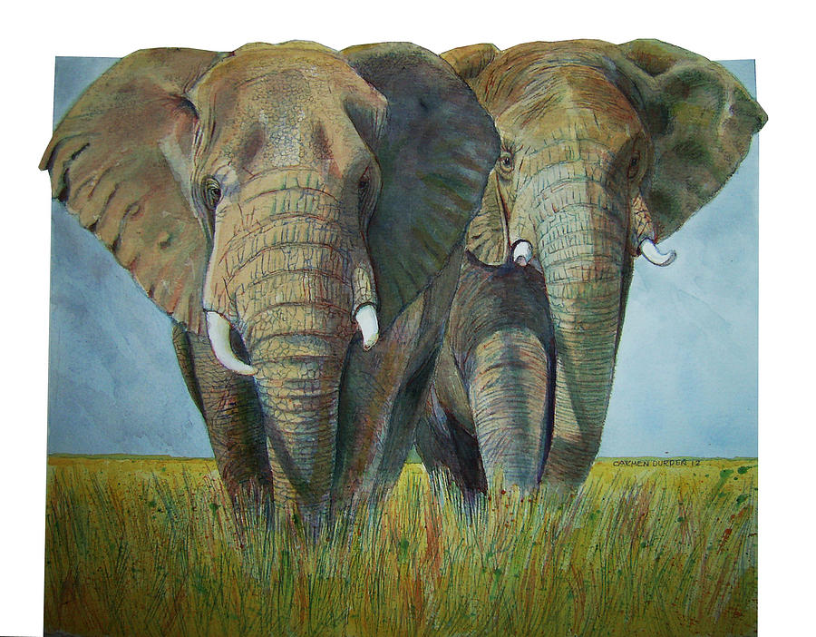 African Elephants Painting by Carmen Durden