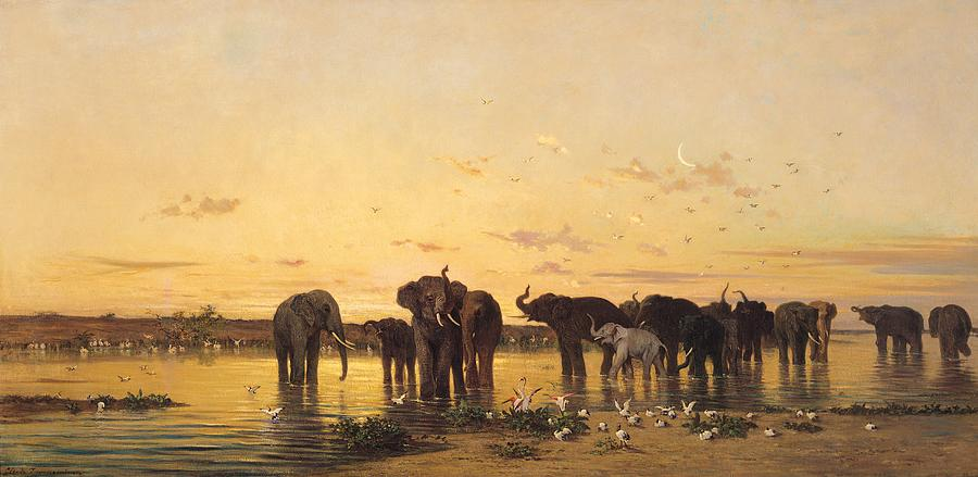 African Elephants Painting  - African Elephants Fine Art Print
