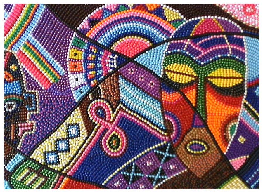 African Motifs Mixed Media By Harold Egbune