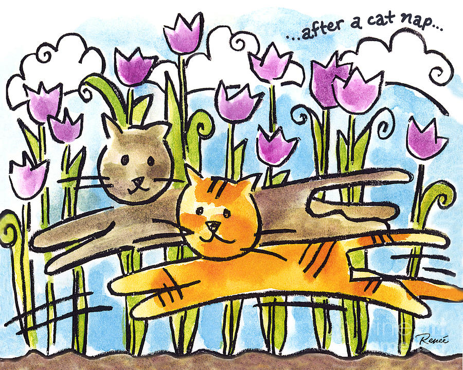 After A Cat Nap Painting  - After A Cat Nap Fine Art Print