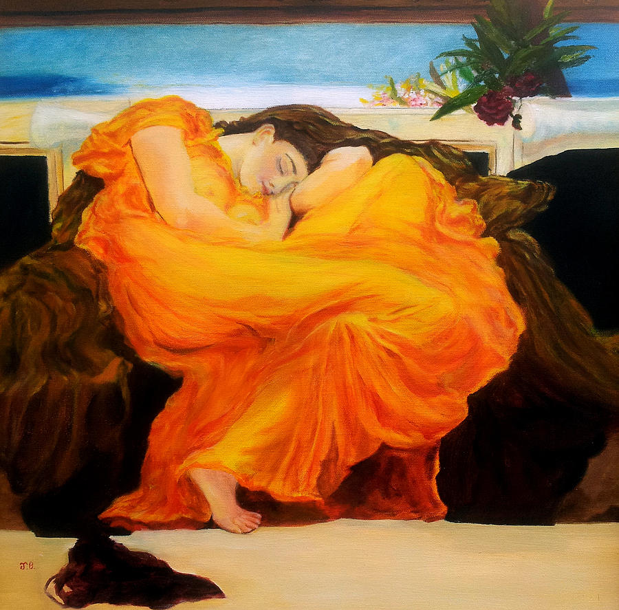 After Leighton   Flaming June Painting  - After Leighton   Flaming June Fine Art Print