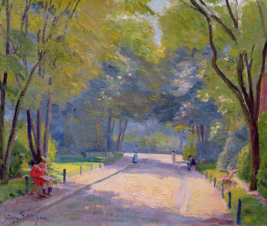 Landscape; Urban Life; Shadows Painting - Afternoon In The Park by Hippolyte Petitjean