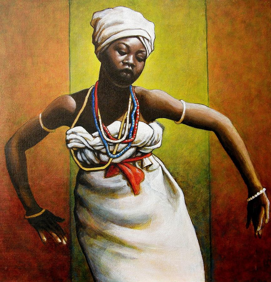 Agbadza Dancer Painting  - Agbadza Dancer Fine Art Print