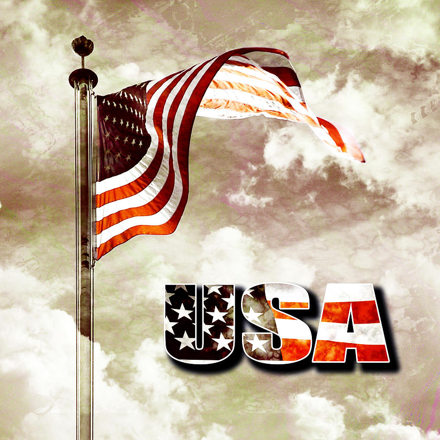 Aged Usa Flag On Pole Digital Art  - Aged Usa Flag On Pole Fine Art Print