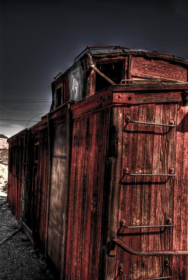 Aging Red Caboose Photograph