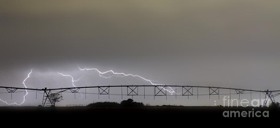 Agricultural Irrigation Lightning Bolts Photograph  - Agricultural Irrigation Lightning Bolts Fine Art Print