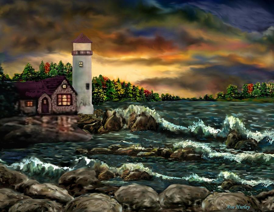 Digital Pastel - Ah-001-015 Davids Point Lighthouse  - Ave Hurley by Ave Hurley