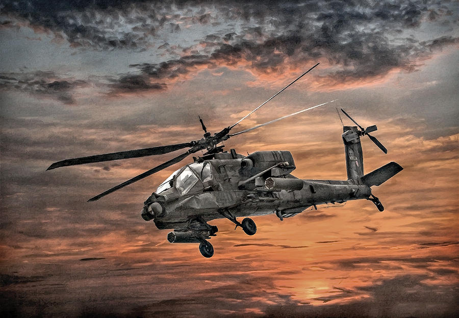 Ah-64 Apache Attack Helicopter Digital Art  - Ah-64 Apache Attack Helicopter Fine Art Print