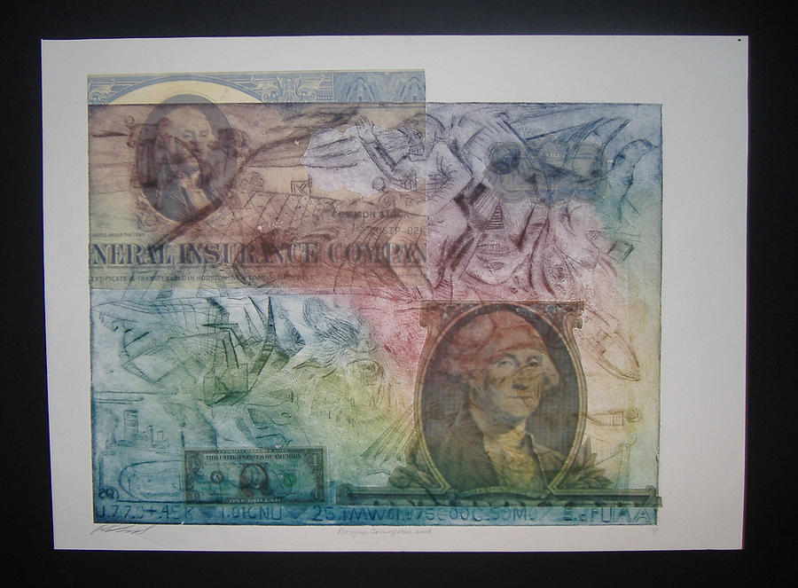Financial Armageddon. Etching Mixed Media - Aig The Dollar And George Compared by John  Schwind